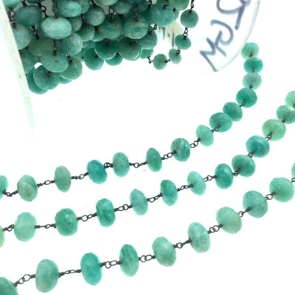 Gunmetal Plated Copper Wrapped Rosary Chain with 10mm Faceted Natural Amazonite Rondelle Shaped Beads - Sold by 1' Cut Sections or in Bulk!