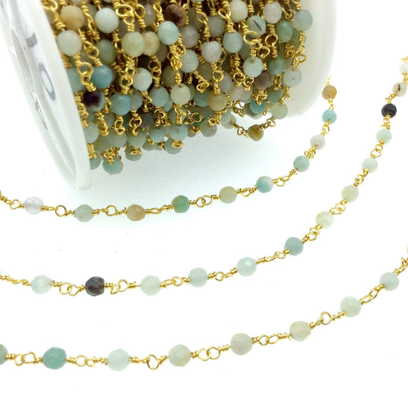 Gold Plated Copper Rosary Chain with 4mm Faceted Natural Mint Green Amazonite Round Shaped Beads - Semi-Precious Wrapped Beaded Chain