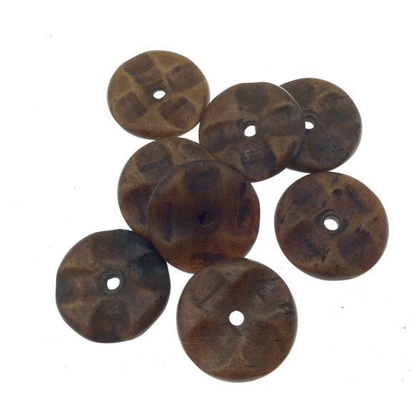 20mm Hand Carved Dark Brown Natural Ox Bone Wavy Heishi/Disc Beads with 2mm Holes - Sold in Packs of 25
