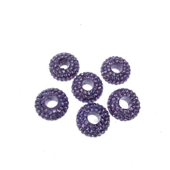 7mm x 14mm Lavender Purple CZ Cubic Zirconia Inlaid Rondelle Shaped Bead with 5mm Holes - Sold Individually - Other Colors Available!
