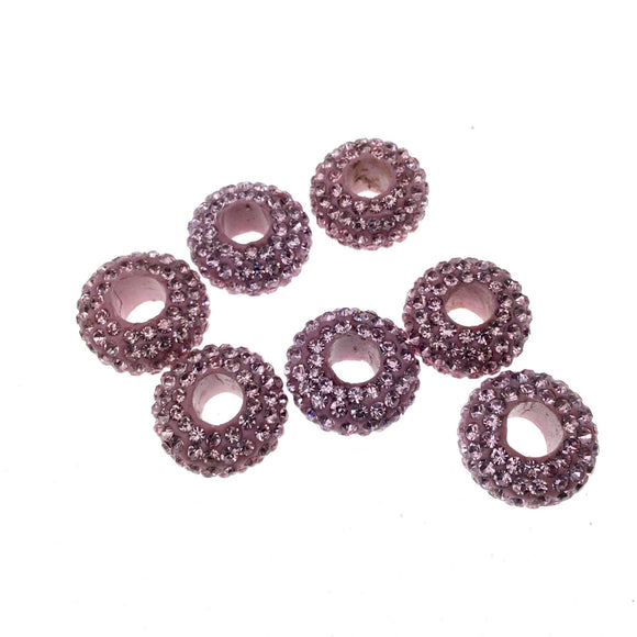 7mm x 14mm Pink CZ Cubic Zirconia Inlaid Rondelle Shaped Bead with 5mm Holes - Sold Individually - Other Colors Available!