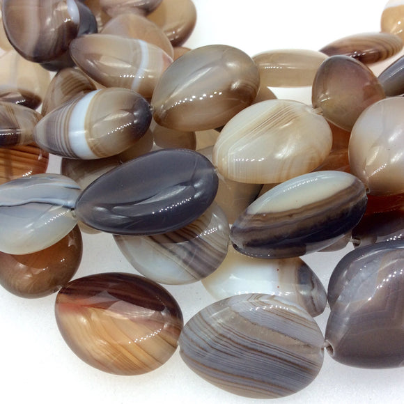 Natural Light Brown/Beige Banded Agate Teardrop Beads - 15.5
