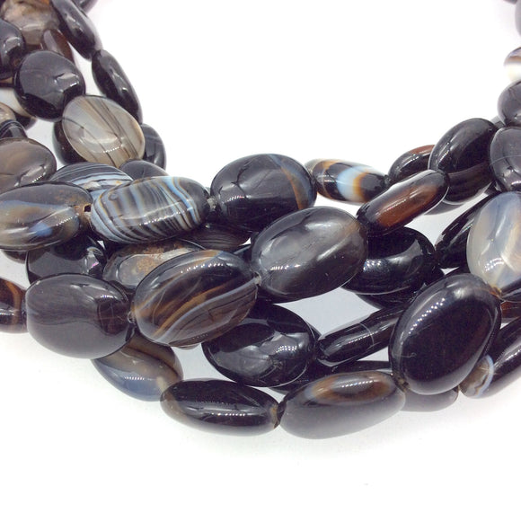 Natural Black/Brown/Gray Banded Agate Oval Beads - 15.5