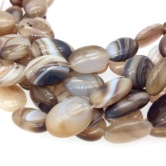 Natural Light Brown/Beige Banded Agate Oval Beads - 15.5