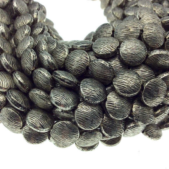 Silver Finish Brushed Puffed Round Shaped Pewter Beads - 8