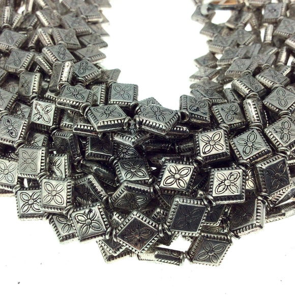 Silver Finish Flower Embossed Diamond Shape Pewter Beads - 8
