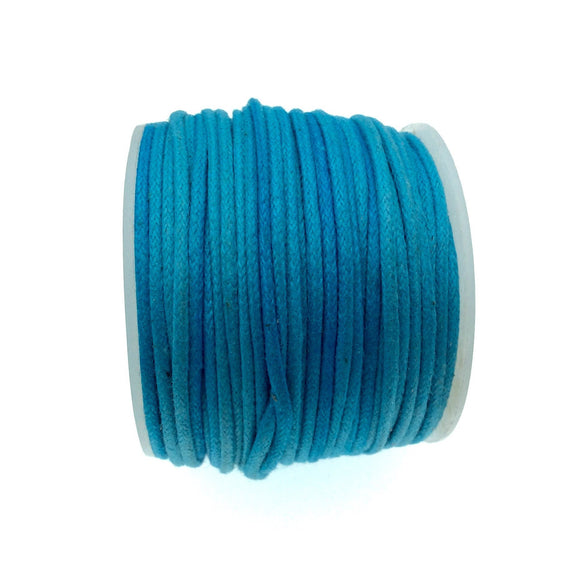 FULL SPOOL - Aqua Blue Beadlanta Waxed Cotton Cord - Measuring 1.5mm - 27 yards per spool - Round Cotton Jewelry Cord