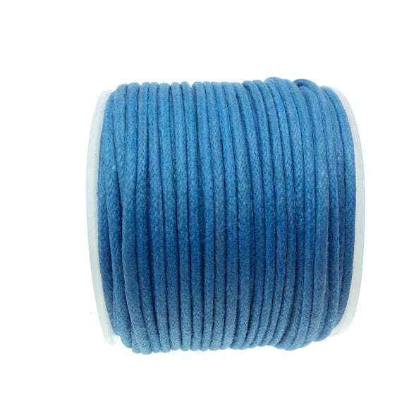 FULL SPOOL - Ocean Blue Beadlanta Waxed Cotton Cord - Measuring 1.5mm - 27 yards per spool - Round Cotton Jewelry Cord