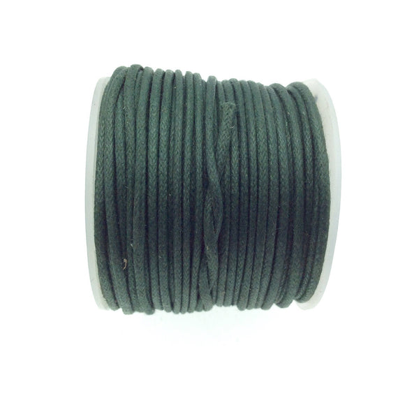 FULL SPOOL - Forest Green Beadlanta Waxed Cotton Cord - Measuring 1.5mm - 27 yards per spool - Round Cotton Jewelry Cord