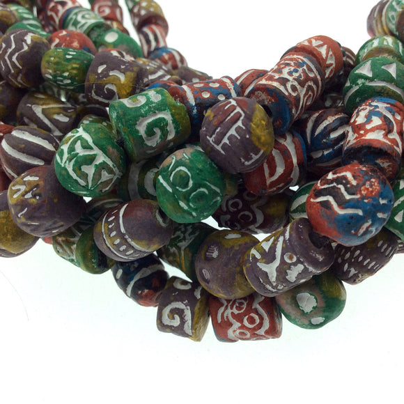10mm Approx. - Handcrafted Artistic Clay Beads - Double Strand of Mixed Shapes and Designs - 2mm Holes - Sold by the Strand (~90 beads)