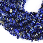 "Natural Lapis Lazuli Smooth Nugget/Chip Beads with 1mm Holes - Sold by 34"" DOUBLE Strands"