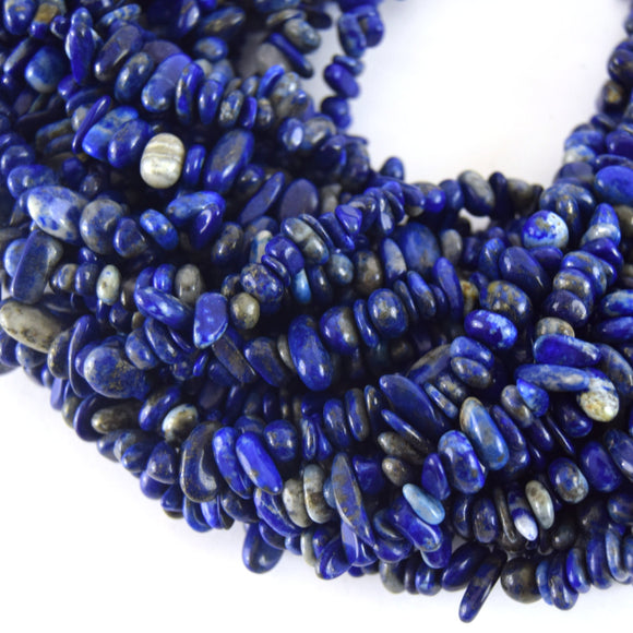 Natural Lapis Lazuli Smooth Nugget/Chip Beads with 1mm Holes - Sold by 34