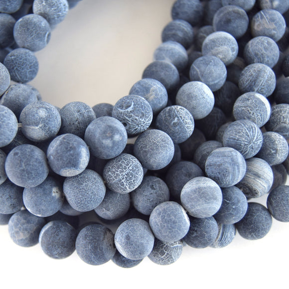 12mm Matte Finish Smooth Round Mixed Steel Blue/White Agate Beads - Natural Semi-Precious Gemstone
