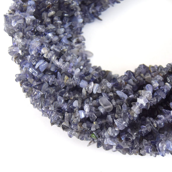 7-8mm Iolite Angular Chip Beads - Double Strand - Natural Semi-Precious Gemstone