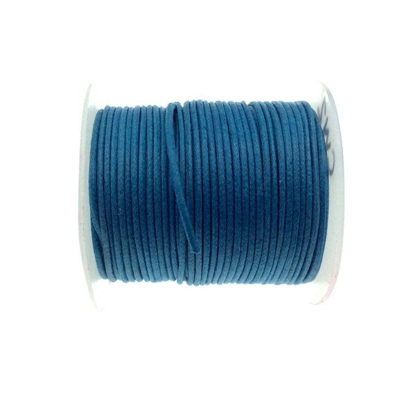 FULL SPOOL - Ocean Blue Beadlanta Waxed Cotton Cord - Measuring .5mm - 27 yards per spool - Round Cotton Jewelry Cord