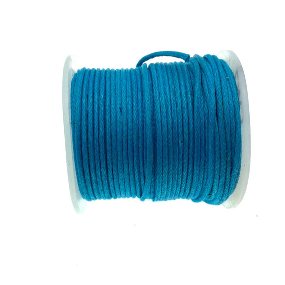 FULL SPOOL - Aqua Blue Beadlanta Waxed Cotton Cord - Measuring .5mm - 27 yards per spool - Round Cotton Jewelry Cord