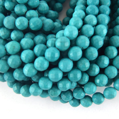 "10mm Faceted Reconstituted Turquoise Round Beads - Sold by 14.5"" Strands (~ 40 Beads)"