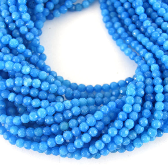 4mm Faceted Dyed Ocean Blue Natural Jade Round Beads - Sold by 15.5