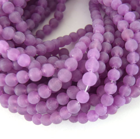"8mm Matte Finish Light Purple Jade Round Beads with 1mm Holes - Sold by 15"" Strands (~49 Beads)"