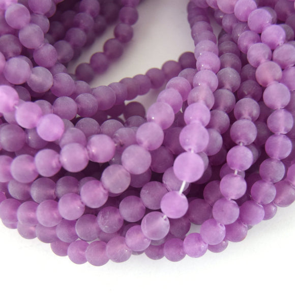8mm Matte Finish Light Purple Jade Round Beads with 1mm Holes - Sold by 15