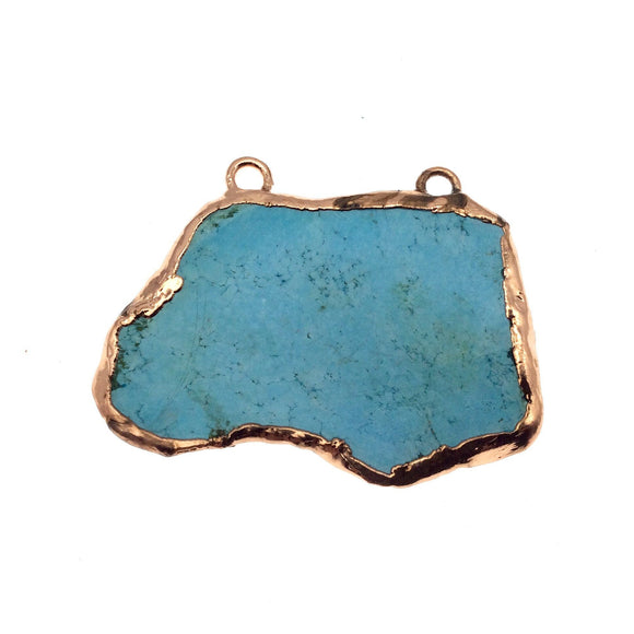 Chinese Turquoise Bezel | OOAK Rose Gold Electroplated Stabilized Freeform Shaped Two Loop Pendant