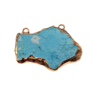 "OOAK Rose Gold Electroplated Stabilized Chinese Turquoise Freeform Shaped Two Loop Pendant ""006"" ~ 70mm x 47mm - Sold  As Pictured"