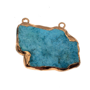"OOAK Rose Gold Electroplated Stabilized Chinese Turquoise Freeform Shaped Two Loop Pendant ""003"" ~ 65mm x 45mm - Sold  As Pictured"