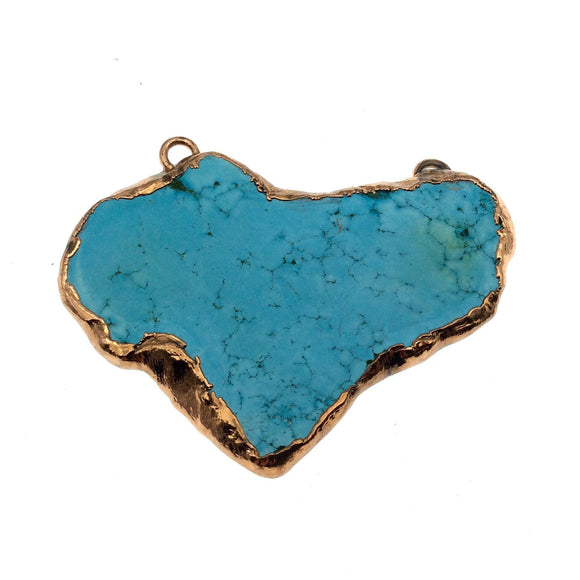 Chinese Turquoise Bezel OOAK Rose Gold Electroplated Stabilized Freeform Shaped Two Loop Pendant 017 ~ 57mm x 42mm Sold  As Pictured