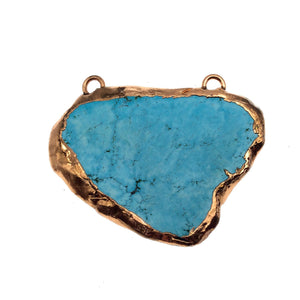 "OOAK Rose Gold Electroplated Stabilized Chinese Turquoise Freeform Shaped Two Loop Pendant ""027"" ~ 65mm x 57mm - Sold  As Pictured"