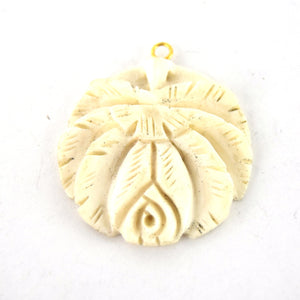 38mm X 40mm White Ivory Hand Carved Rose Round Shaped Natural Ox Only Beads