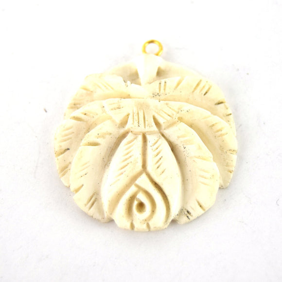 38mm x 40mm - White/Ivory - Hand Carved Rose - Round Shaped Natural Ox Bone Pendant