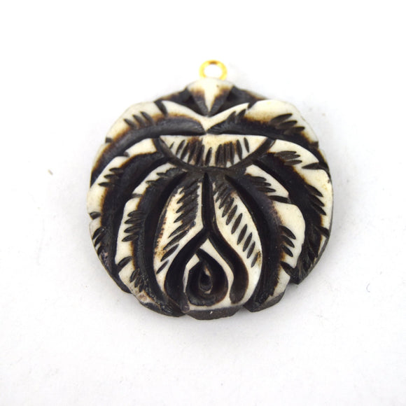 38mm x 40mm - White and Black - Hand Carved Rose - Round Shaped Natural Ox Bone Pendant