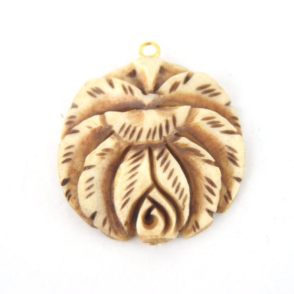 38mm x 40mm - Light Brown - Hand Carved Rose - Round Shaped Natural Ox Bone Pendant