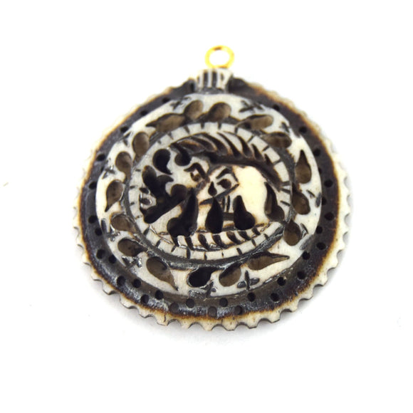 38mm x 40mm - White/Black - Hand Carved Elephant with Scallops- Round Shaped Natural Ox Bone Pendant