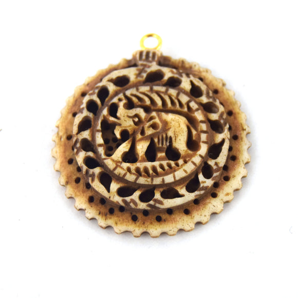 38mm x 40mm - Light Brown - Hand Carved Elephant with Scallops - Round Shaped Natural OxBone Pendant