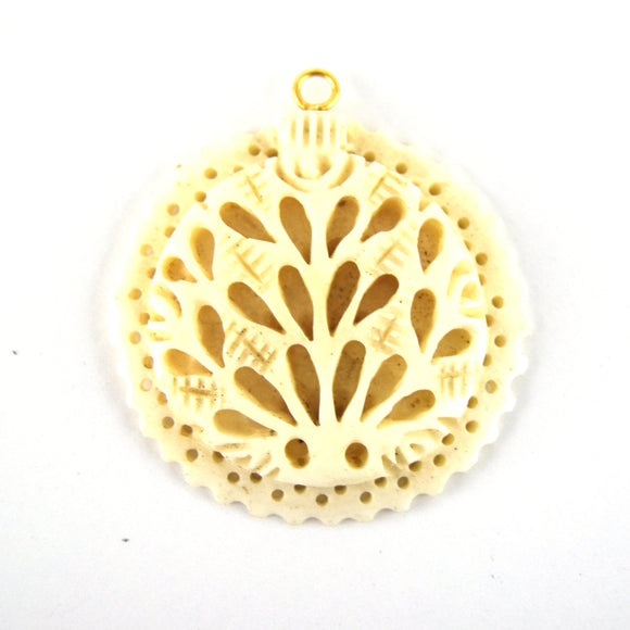 38mm x 40mm - White/Ivory - Hand Carved Peacock with Scallops- Round Shaped Natural OxBone Pendant
