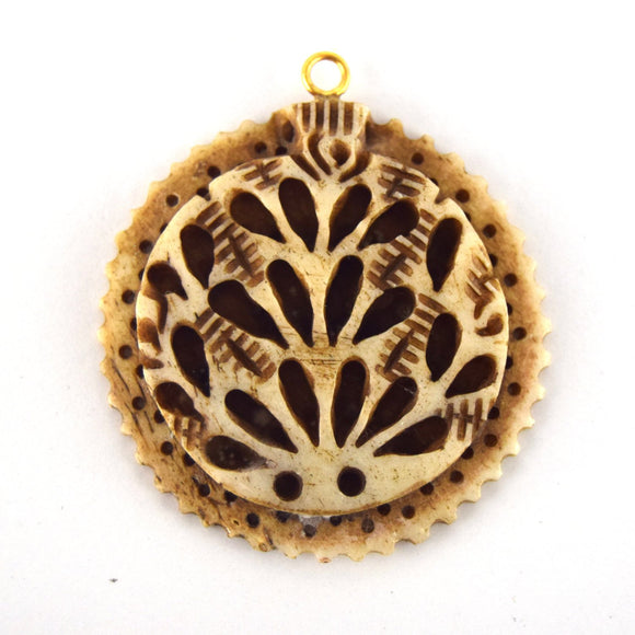 38mm x 40mm - Light Brown - Hand Carved Peacock with Scallops - Round Shaped Natural OxBone Pendant