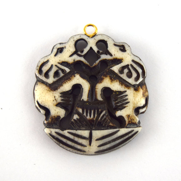 38mm x 40mm - White/Black - Hand Carved Dual Elephants- Round Shaped Natural Ox Bone Pendant