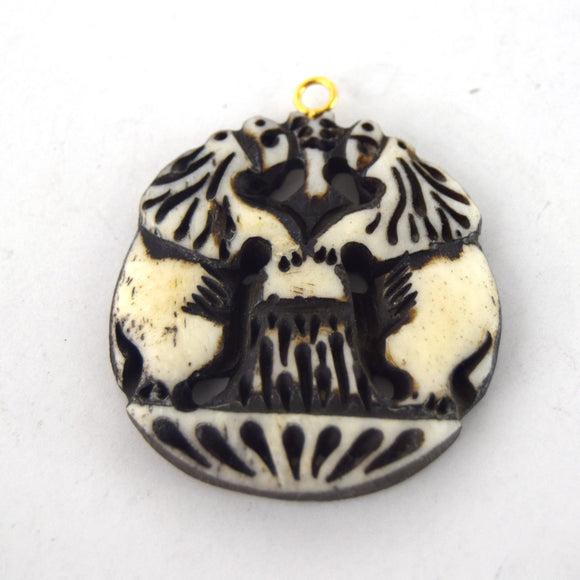 38mm x 40mm - White/Black - Hand Carved Dual Lions - Round Shaped Natural Ox Bone Pendant