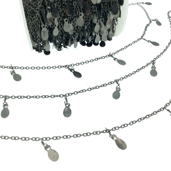 Gunmetal Plated Brass Spaced Single Dangle Wrapped Chain with 6mm Gunmetal Teardrop Dangles - Sold by 1 Foot Length!