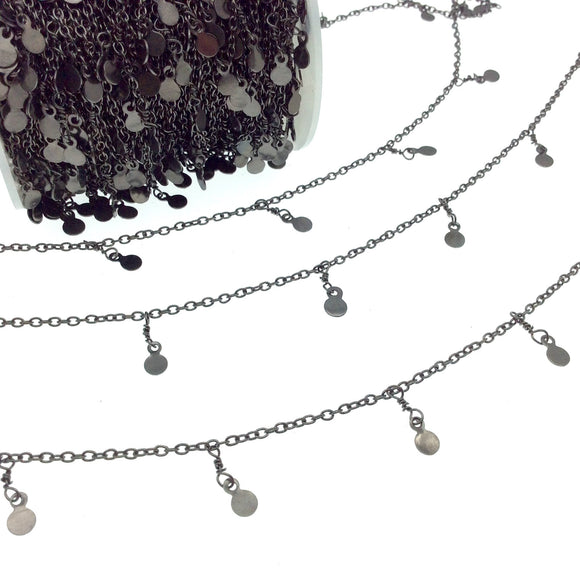 Gunmetal Plated Brass Spaced Single Dangle Wrapped Chain with 4mm Gunmetal Disc/Coin Round Dangles - Sold by 1 Foot Length!