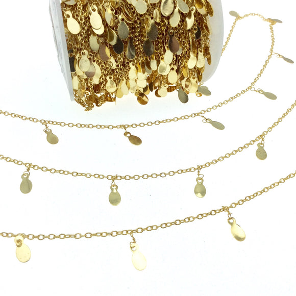 Gold Plated Brass Spaced Single Dangle Wrapped Chain with 6mm Gold Teardrop Dangles - Sold by 1 Foot Length!