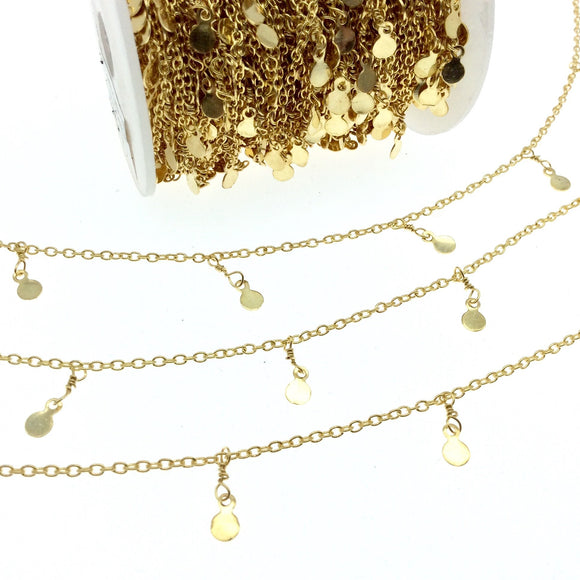 Gold Plated Brass Spaced Single Dangle Wrapped Chain with 4mm Gold Disc/Coin Round Dangles - Sold by 1 Foot Length!