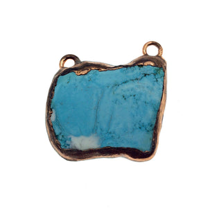 "OOAK Rose Gold Electroplated Stabilized Chinese Turquoise Freeform Shaped Two Loop Pendant ""051"" ~ 50mm x 40mm - Sold  As Pictured"