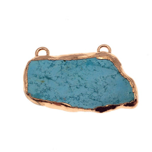 "OOAK Rose Gold Electroplated Stabilized Chinese Turquoise Freeform Shaped Two Loop Pendant ""049"" ~ 55mm x 30mm - Sold  As Pictured"