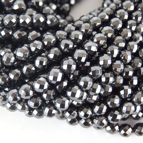 8mm Faceted Natural Hematite Round/Ball Shape Beads  - Semi-Precious Gemstone
