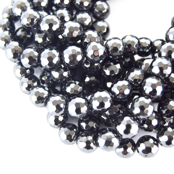 10mm Faceted Natural Hematite Round/Ball Shaped Beads - High Quality Gemstone