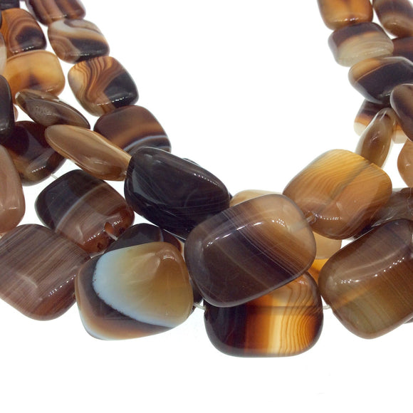 18mm x 25mm Brown White Banded Agate Rectangle Beads - 15.5