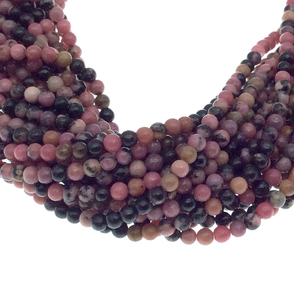 2mm Smooth Glossy Finish Natural Dendritic Rhodonite Round/Ball Shaped Beads with .4mm Holes - Sold by 15.25