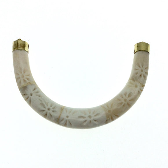 Hand Carved White/Ivory Double Ended U-Shaped Crescent with Flower Design - Natural Ox Bone Focal Pendant - 130mm x 85mm